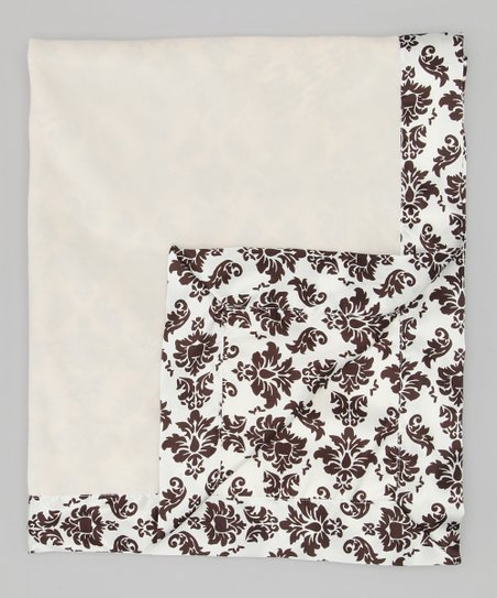 Cream &amp; Espresso Velvet Brocade Deluxe Satin Stroller Blanket