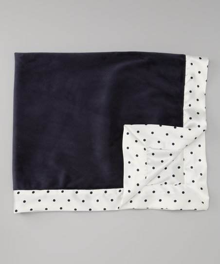 Denim Velvet Mini Dot Deluxe Satin Stroller Blanket
