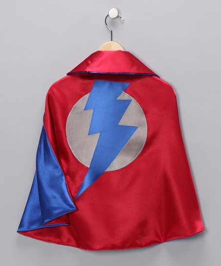 Red & Blue Lightning Leader Two-Ply Hero Cape