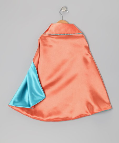 Orange & Light Teal Two-Ply Cape - Toddler & Kids