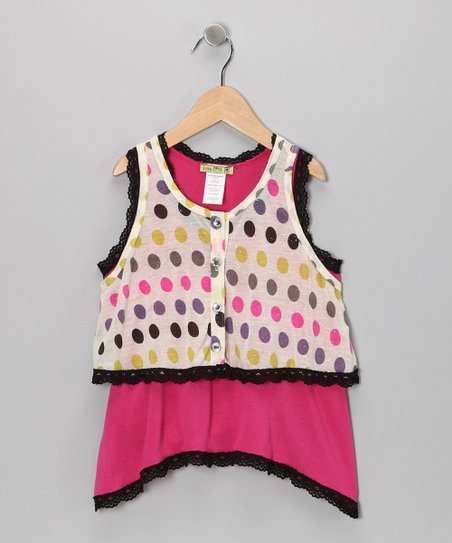 Fuchsia Disco Dot Tunic &amp; Vest - Toddler &amp; Girls