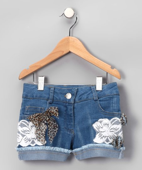 Denim Crazy Cat Shorts - Toddler & Girls