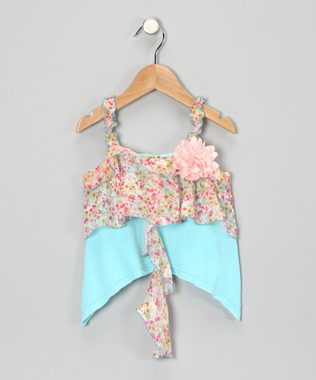 Blue Secret Garden Tank - Toddler & Girls
