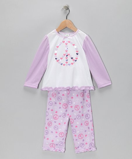 Lilac Peace Sign Pajama Set - Toddler