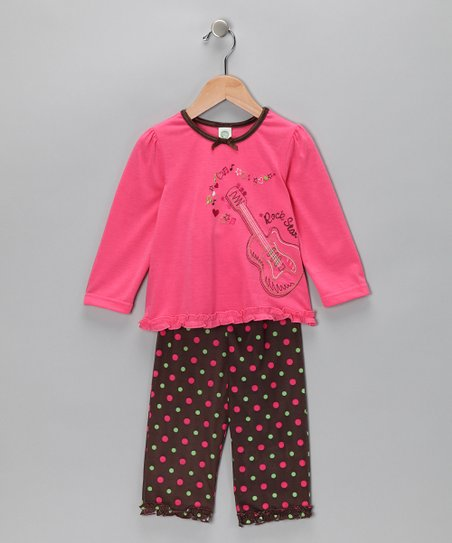 Fuchsia 'Rock Star' Pajama Set - Toddler