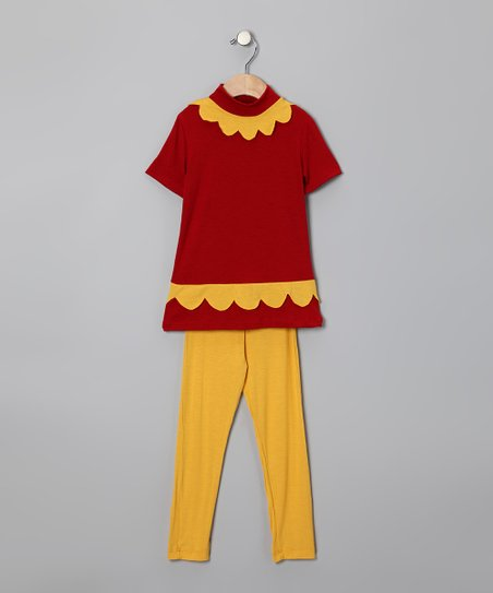 Red Scallop Tunic & Yellow Leggings - Toddler & Girls