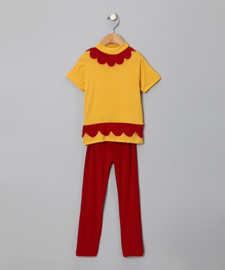 Yellow Scallop Tunic &amp; Red Leggings - Toddler &amp; Girls