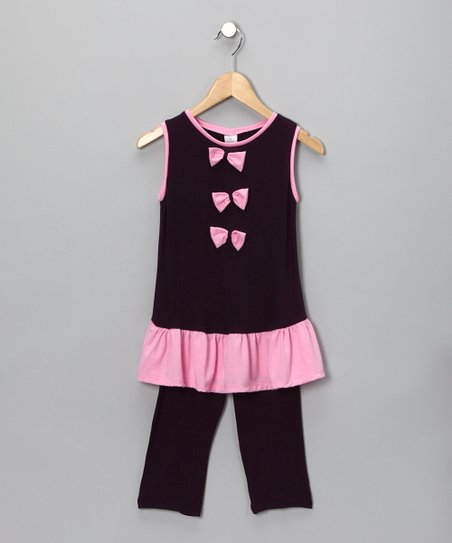 Plum Bow Tunic & Leggings - Toddler & Girls