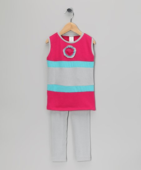 Light Gray & Hot Pink Stripe Tunic & Leggings - Toddler & Girls
