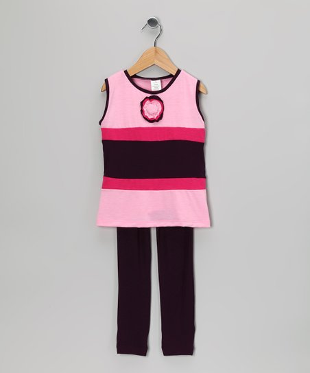 Plum & Pink Stripe Tunic & Leggings - Toddler & Girls