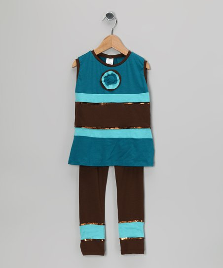 Brown & Blue Stripe Tank & Leggings - Toddler & Girls