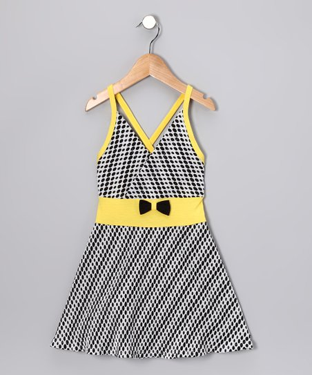 Black & Yellow Polka Dot Dress - Toddler & Girls