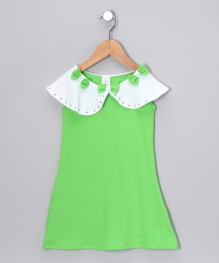 Lime & White Bow Dress - Toddler & Girls