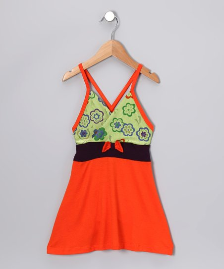 Orange & Green Flower Dress - Toddler & Girls