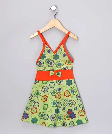 Green & Orange Flower Dress - Toddler & Girls