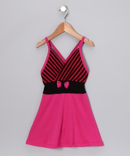 Hot Pink Stripe Dress - Toddler &amp; Girls