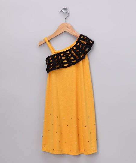 Gold Asymmetrical Dress - Girls