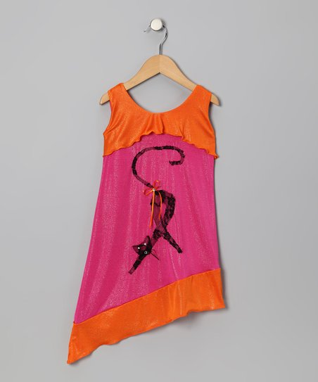Pink & Orange Cat Dress - Toddler & Girls