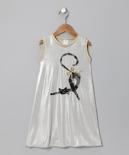 Silver Cat Swing Dress - Toddler & Girls
