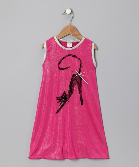 Hot Pink Cat Swing Dress - Toddler & Girls