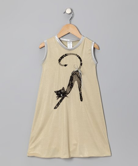 Beige Cat Swing Dress - Toddler & Girls