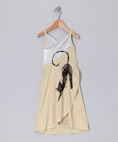 Beige & White Cat Wrap Dress - Toddler & Girls