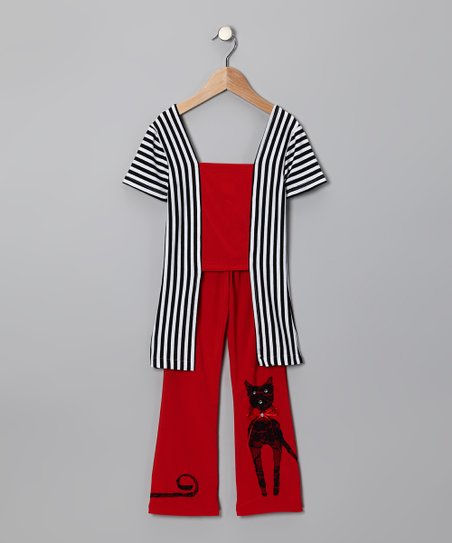 Red Stripe Cat Top & Pants - Toddler & Girls