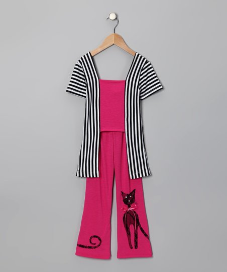 Hot Pink Stripe Cat Top &amp; Pants - Toddler &amp; Girls