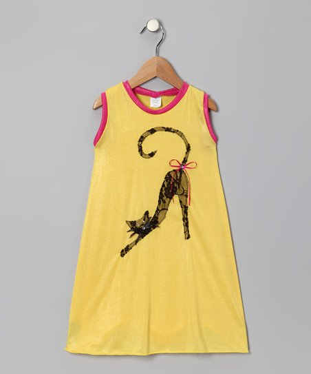 Yellow & Hot Pink Cat Swing Dress - Toddler & Girls