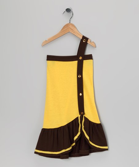 Yellow &amp; Brown Color Block Dress - Toddler &amp; Girls