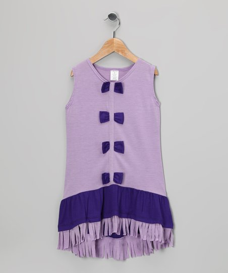 Lilac & Purple Bow Fringe Dress - Toddler & Girls