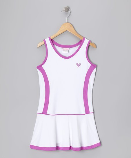White & Fuchsia Tennis Pleated Dress