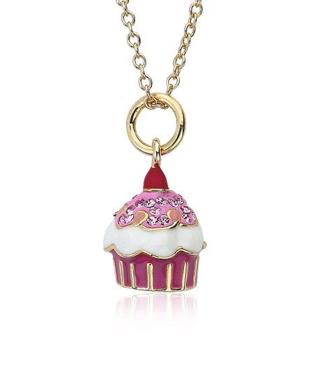 Gold & Pink Crystal Cupcake Pendant Necklace