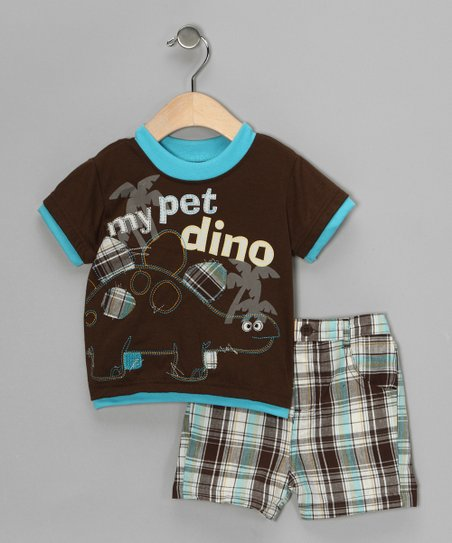 Brown 'My Pet Dino' Tee & Shorts - Infant