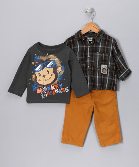 Gray 'Monkey Business' Tee Set - Infant