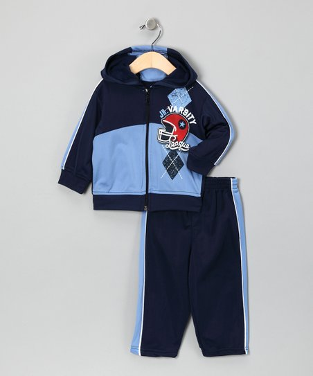 Navy 'Jr. Varsity' Zip-Up Jacket Set - Infant