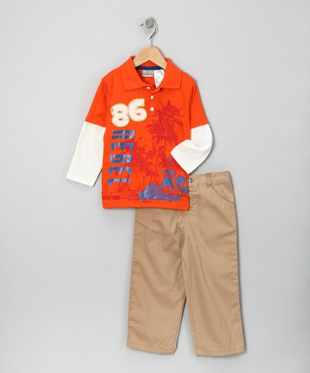 Orange Palm Tree Layered Polo & Pants - Infant