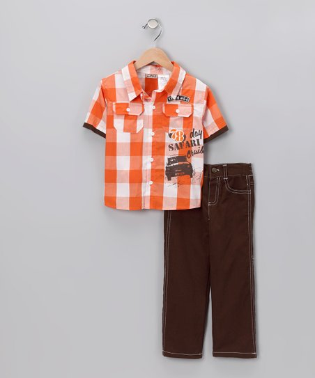Mandarin Plaid Layered Button-Up & Pants - Toddler