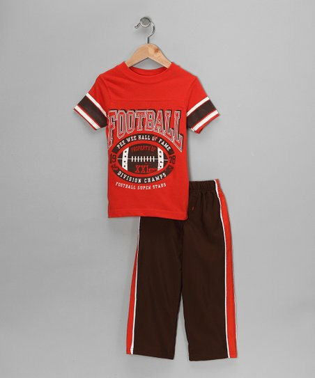 Orange 'Football' Tee & Track Pants - Toddler