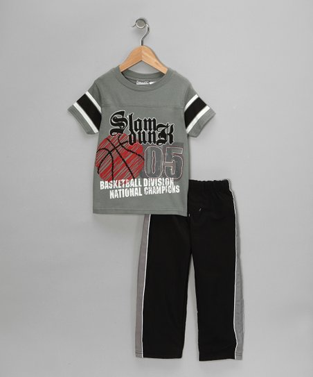 Gray 'Slam Dunk' Tee & Track Pants - Toddler