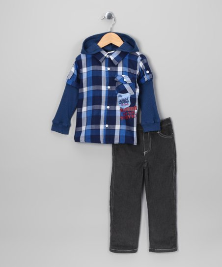 Blue 'Motor' Layered Button-Up & Pants - Infant