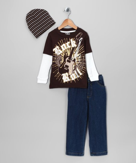 Brown 'Rock 'n' Roll' Layered Tee Set - Infant