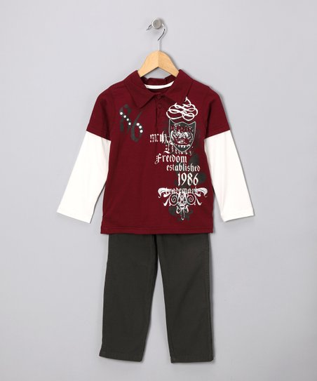 Burgundy 'Freedom' Layered Polo & Pants - Toddler