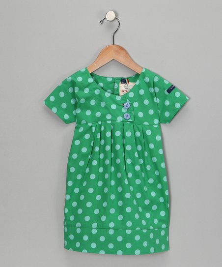 Green Polka Dot Audrey Organic Dress - Toddler & Girls