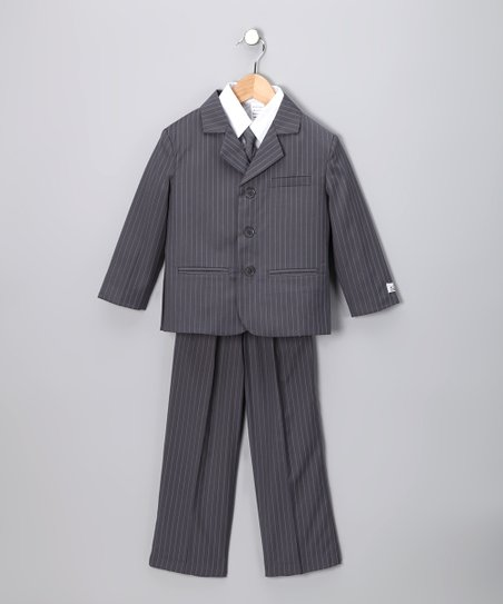 Light Gray &amp; White Stripe Suit Set - Boys