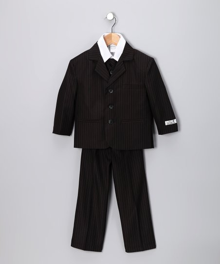 Little Stallion Black Pinstripe Suit Set - Toddler & Boys