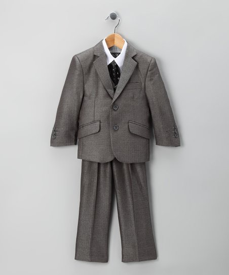 Gray Herringbone Tazio Suit Set - Toddler & Boys