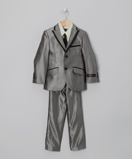 Charcoal Piping Five-Piece Suit Set - Toddler &amp; Boys