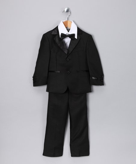 Black Five-Piece Tuxedo Set - Toddler & Boys