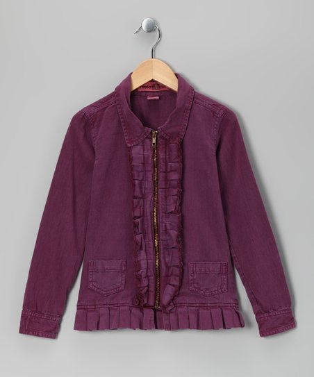 Purple Pleated Twill Jacket - Girls